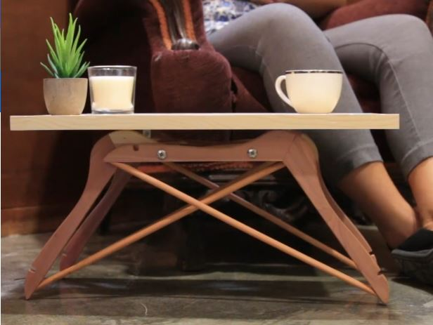 DIY Mini Coffee Table Made Out Of 4 Coat Hangers