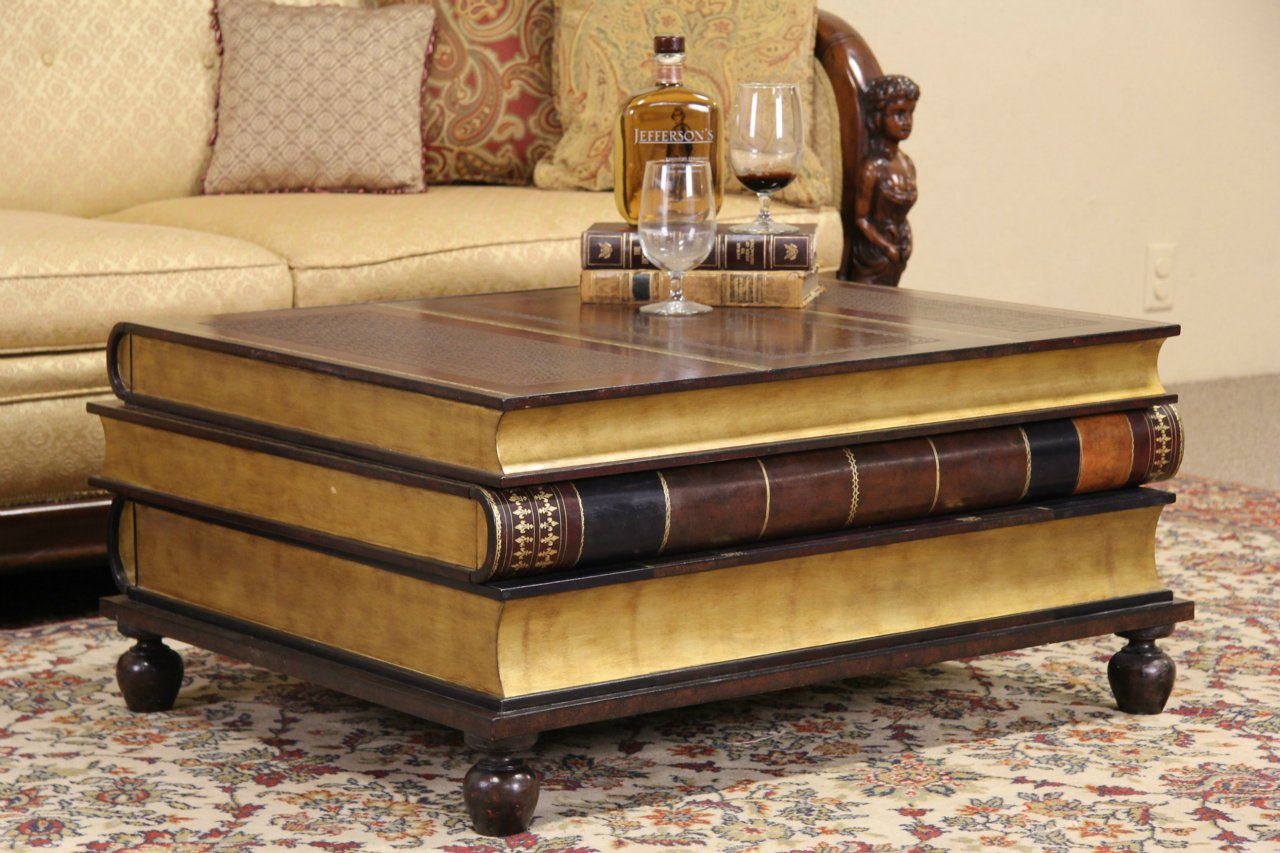 Leather & Gold Leaf Book Coffee Table